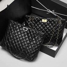 2020 Luxury Brand Women Plaid Bag Large Tote Bag Female Handbags Designer Black Leather Big Crossbody Chain Messenger Bag Ladies