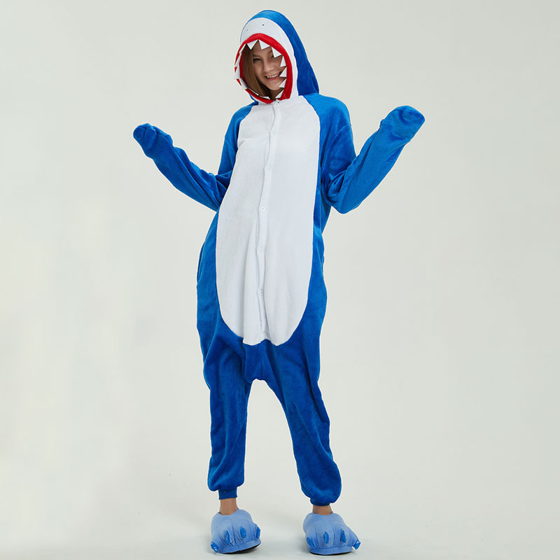 Kigurumi Blue Shark Pajama Women Girl Winter Carton Animal Men Onesie CoupleAdult Funny Overall Performance Party Warm Jumpsuit