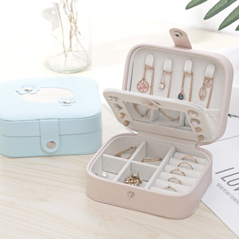 Leather Buttoned Jewelry Box Small Jewelry Organizer Simple Style Gift Boxes For Jewellery Decoration Storage