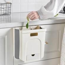 Cozinha lata de lixo pendurado casa de parede-montado dobrável pendurado classificação de armazenamento lixo carro bin wc z2q6
