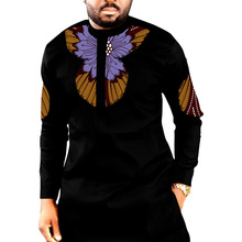African Print Shirt Men's Dashiki Tops Black&Wax Custom Made Plus Size Groom Shirts Mens Ankara Outfit