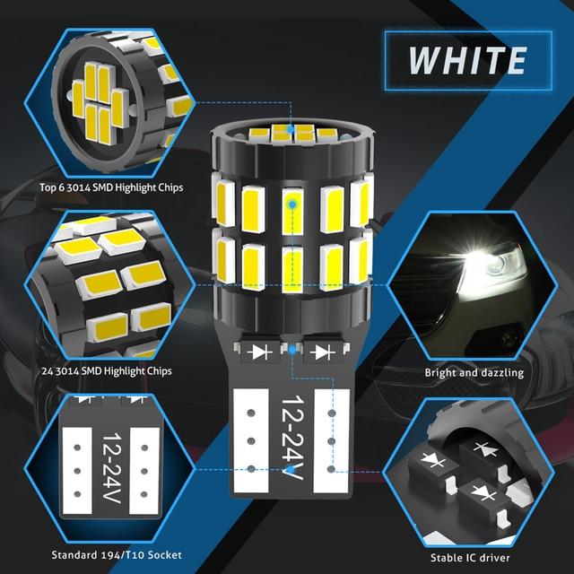 2pcs W5W T10 LED Bulbs Canbus For Car Parking Position Lights Interior Light For BMW VW Mercedes Audi A3 8P A4 6B BMW E60 E90 3
