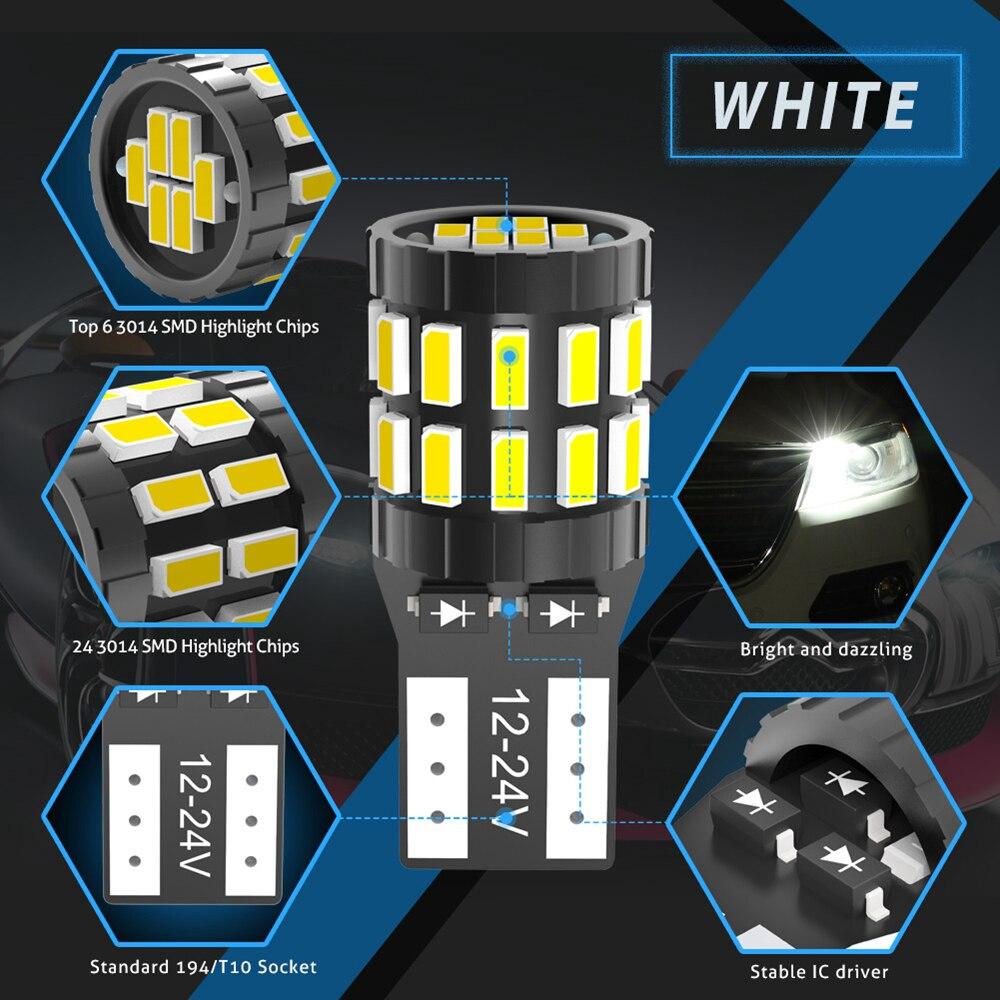 Image 3 - 10pcs T10 LED Canbus Bulbs For BMW E90 E60 White 168 501 W5W LED Lamp Wedge Car Interior Lights 12V 6000K Red Amber yellow BlueSignal Lamp   -