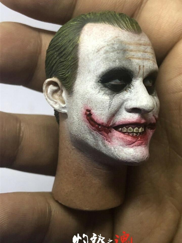 1//6 Batman Clown Heath Ledger Head Sculpt Laugh Face Head Sculpt Model Toys