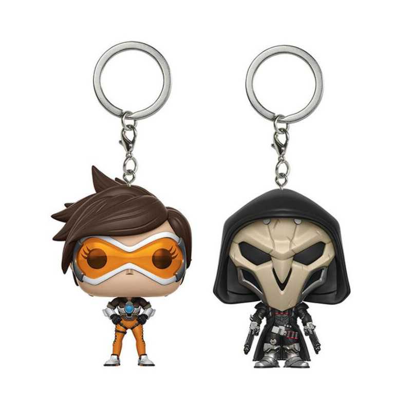 OverWatche TRACER & REAPER  Pocket Keychain Vinyl Action Figure Collection Model Toys