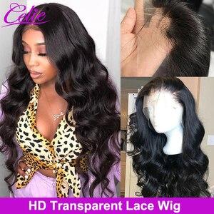 Image 1 - Celie Haar HD Transparent Spitze Perücke 180 250 Dichte Spitze Front Menschliches Haar Perücken Körper Welle Perücke Für Schwarze Frauen menschliches Haar Perücken