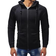 PUIMENTIUA Men Hoodies Jacket Autumn Winter Drawstring Zipper Hooded Sweatshirt Male Long Sleeve Pocket Pullover Hoodie Coat