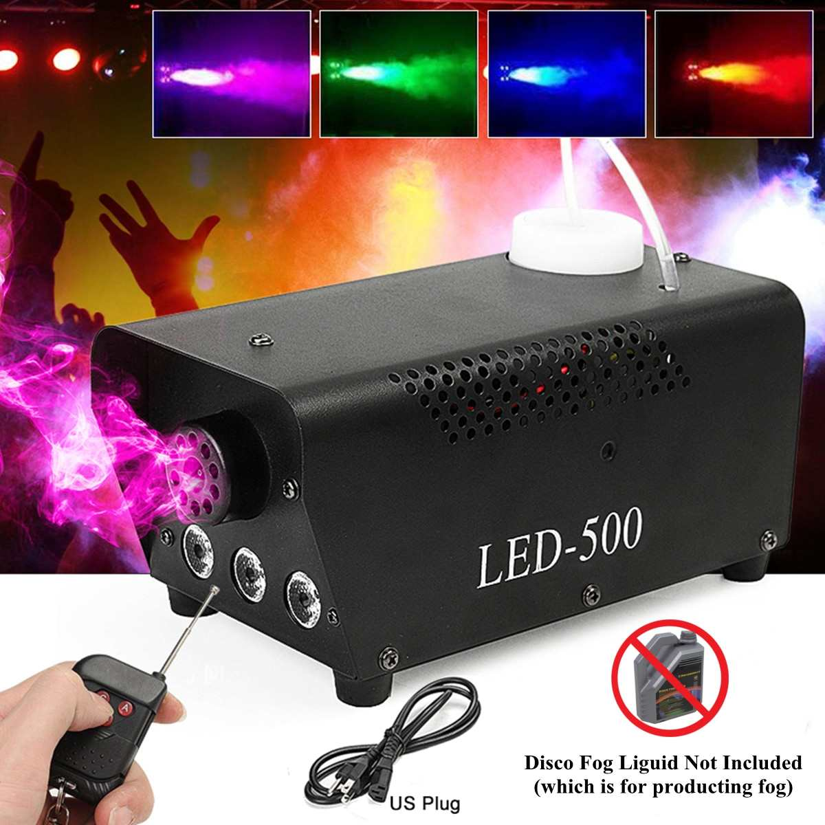 500W Wireless Disco Colorful Smoke Machine Mini LED Remote Fogger Ejector Dj Christmas Party  Light Fog Machine Drop Shippi