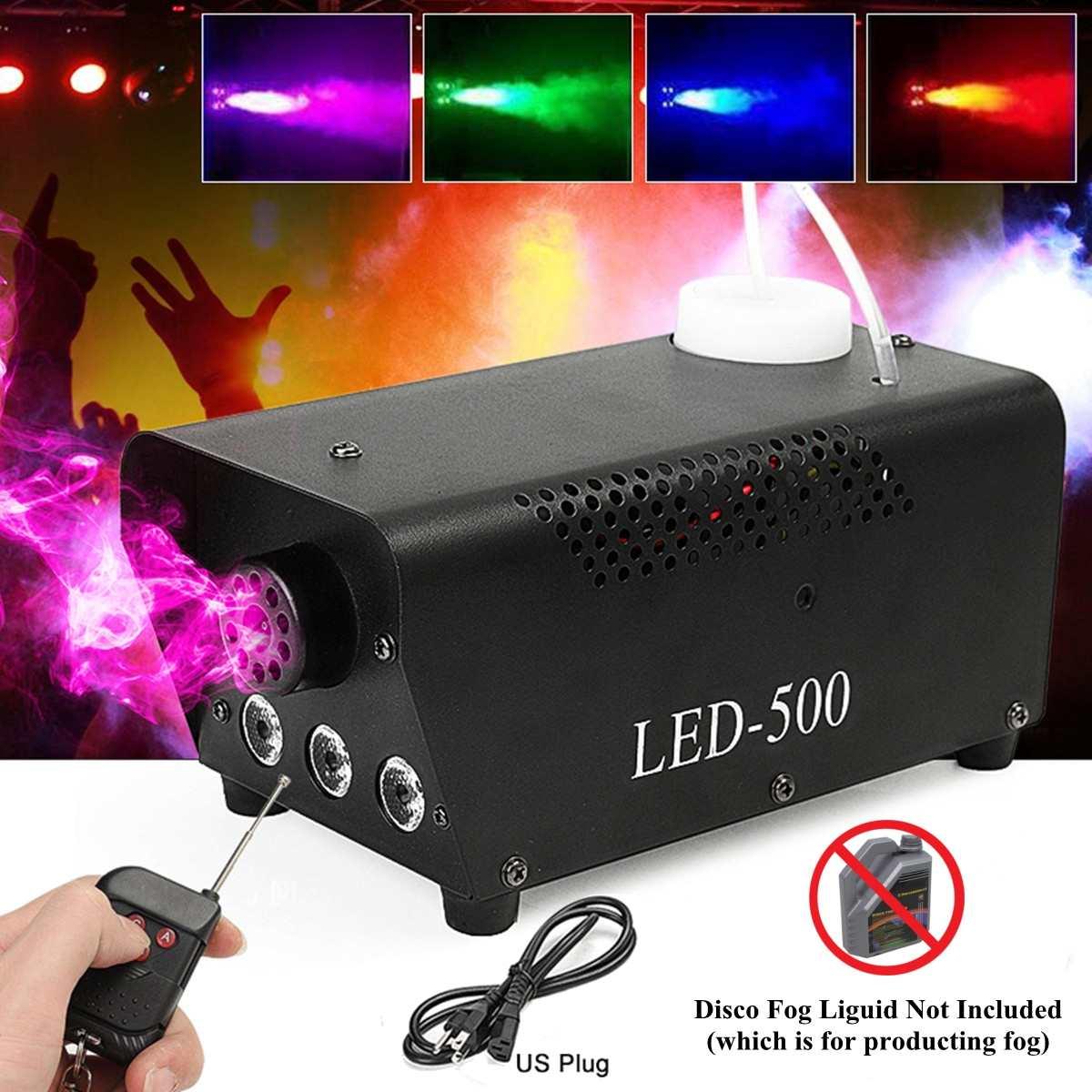 500W Wireless Disco Colorful Smoke Machine Mini LED Remote Fogger Ejector Dj Christmas Party  Light Fog Machine Drop Shippi