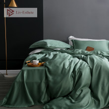 Liv-Esthete Noble Dark Green100% Silk Bedding Set Silk Healthy Duvet Cover Flat Sheet Pillowcace Queen King Adult Bed Linen Set