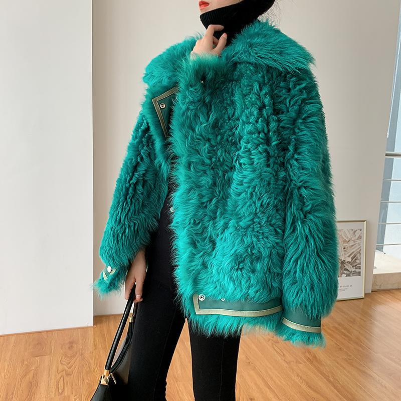 Women Winter Short Warm Faux Fur Coat  Fur Collar Fluffy Jacket Parkas