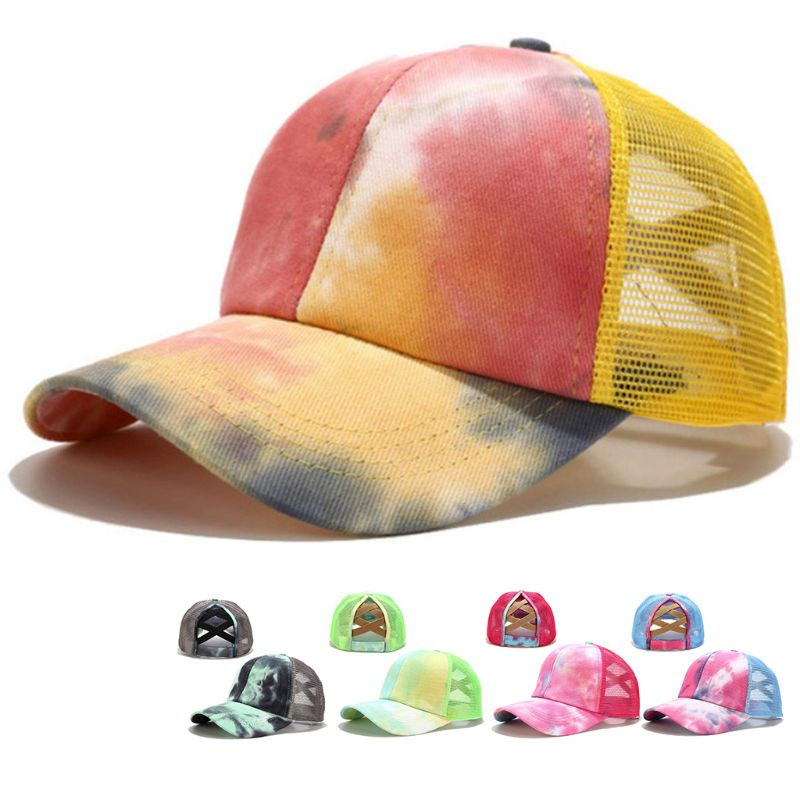 qinren Women Colorful Tie-Dye Baseball Cap Criss Cross Ponytail Mesh Back Trucker Hat,Tie-dye Crossover Baseball Cap,Light Blue