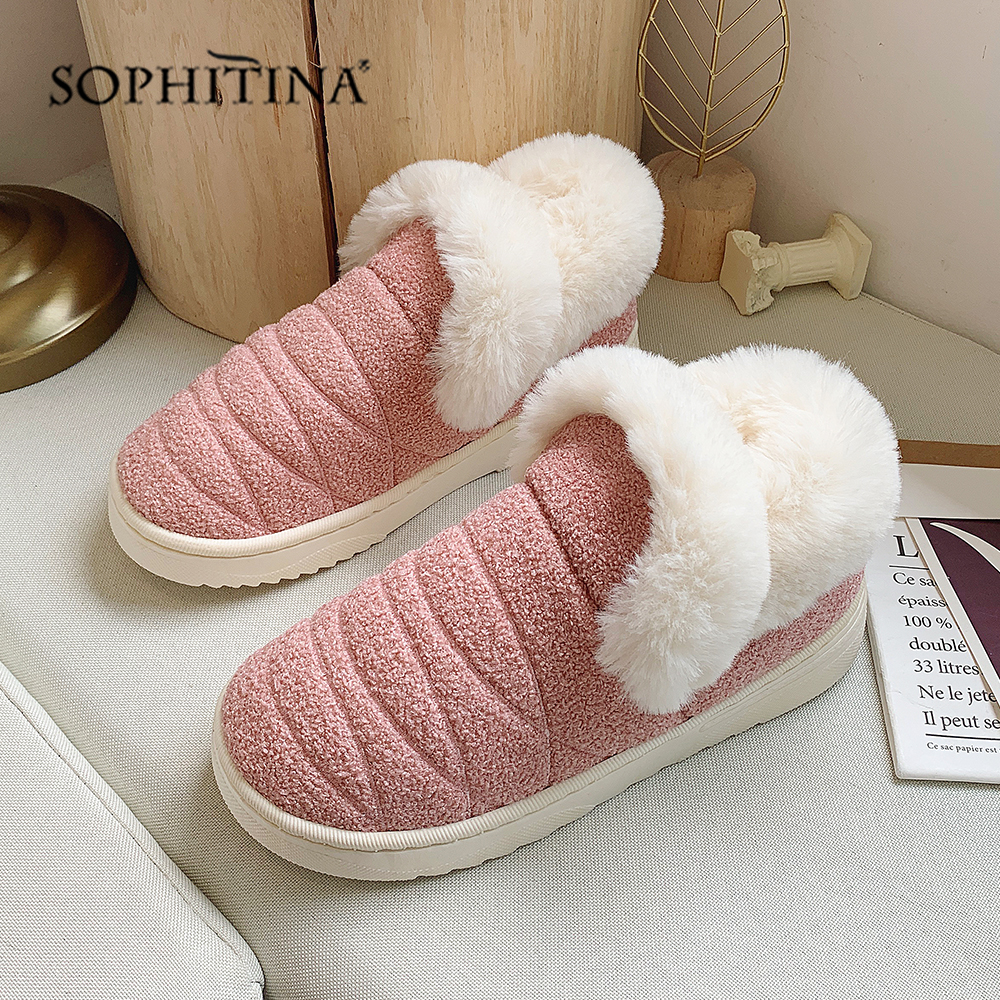SOPHITINA Solid Comfortable Slipper Winter Round Toe Fashion Design New Shoes Very Warm Slipper MO371 2