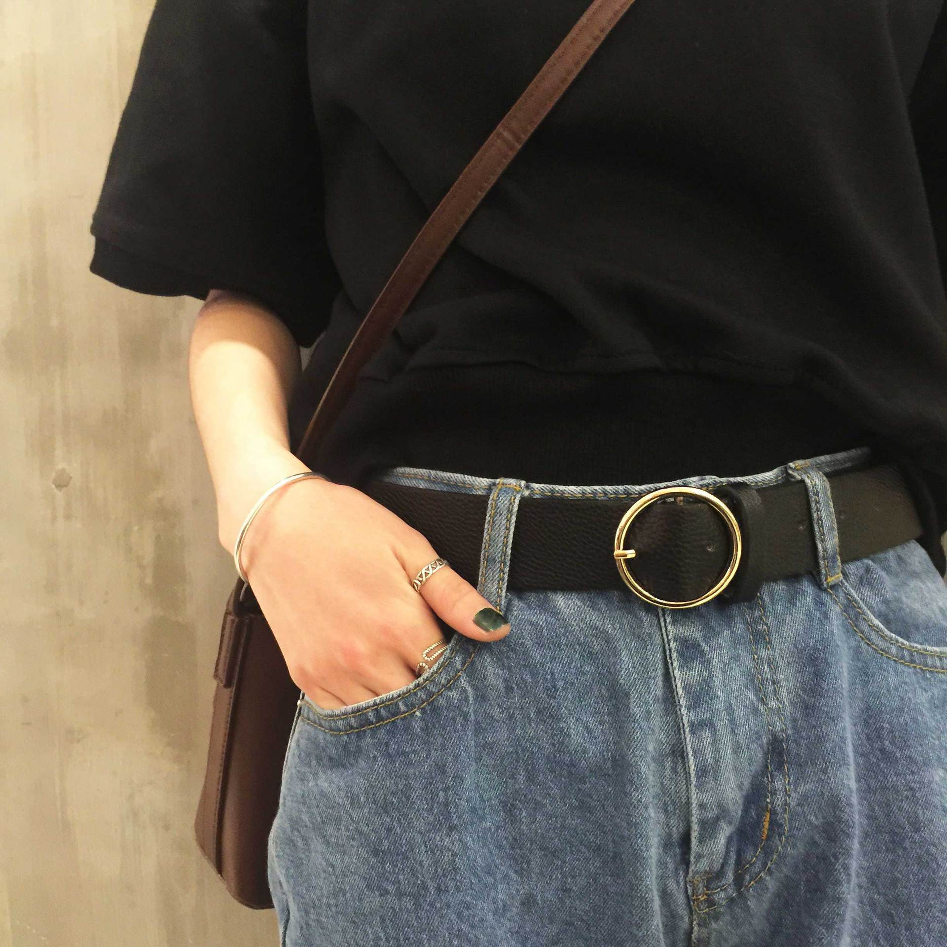 New Harajuku Style Circle Buckle Metal Pu Wide Belt Women's Belts 2019 Korean Fashion Accessary