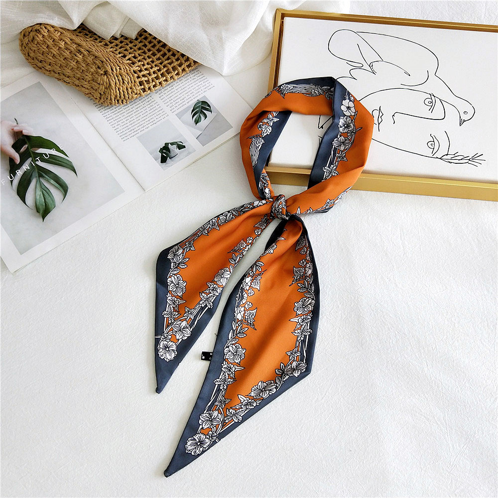 2020 New Spring Summer Women's Silk Stain Hair Head Scarf Headband Female Polk Dot Printed Neck Collar Scarfs For Ladies Handbag
