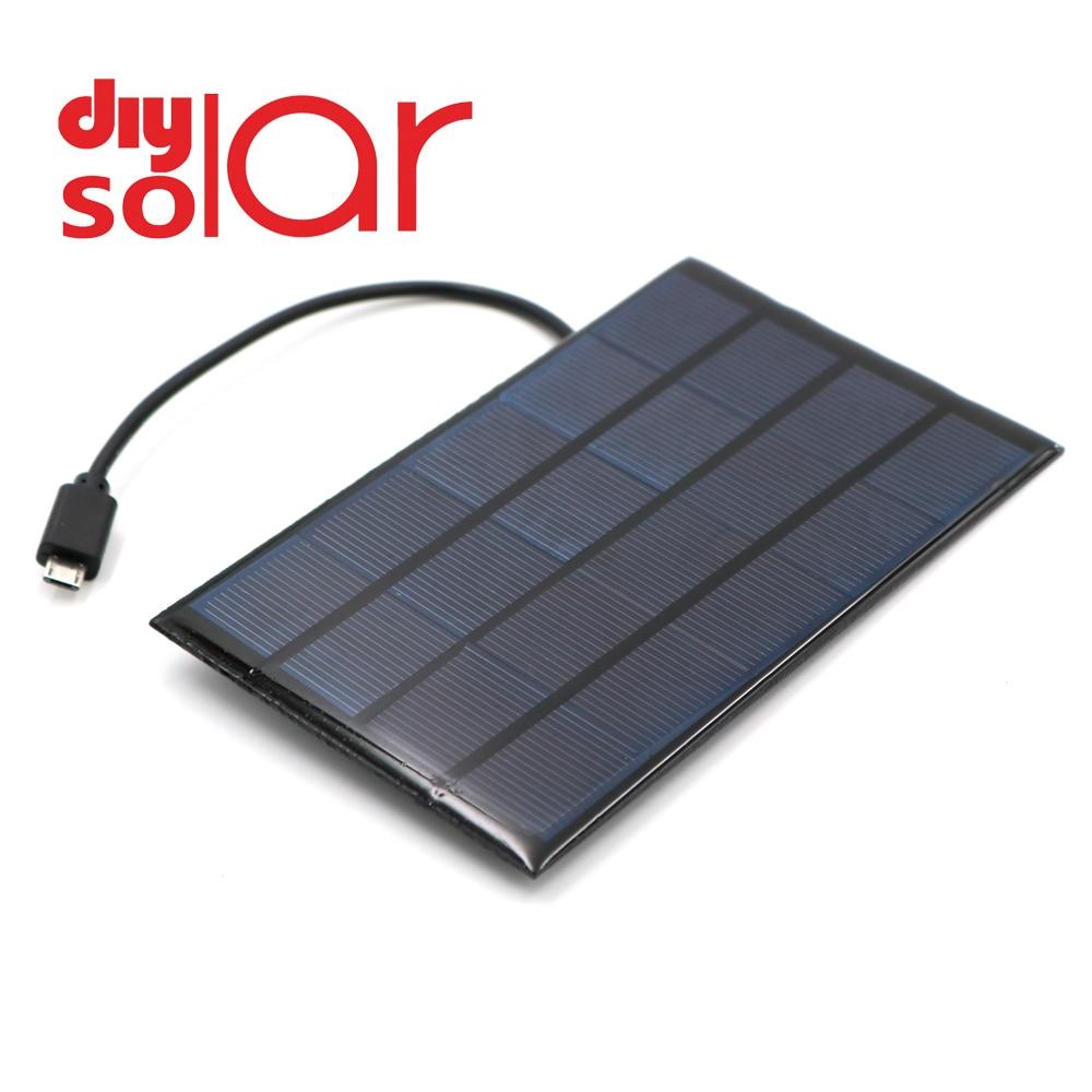 Dc painel solar 400ma 2w 5v usb micro saída bateria carregador regulador de tensão do telefone móvel power bank fio dc ao ar livre célula solar