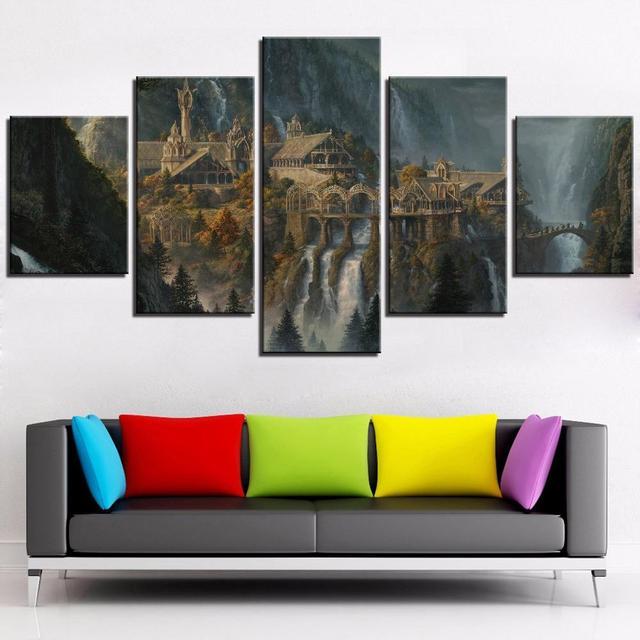 Tela di canapa di Arte Stampe Poster Da Parete Modulare Immagine 5 Pannello Signore Degli Anelli Decorazione Della Casa Soggiorno Moderno Dipinti Opere Darte