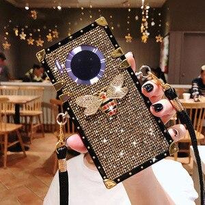 Image 1 - Moda nit plac Bling brokat smycz etui na telefony dla Huawei Mate 30 Pro Mate 20 pro Y9 prime 2019 tylna pokrywa Coque Fundas