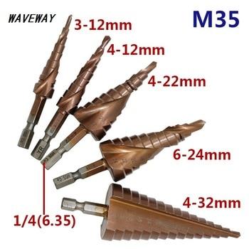 цена на HSS-CO M35 Hexagonal Shank Spiral Groove Step Drill Bit Metal Cone Step Drill Bit Stainless Steel Hole Saw Hole Cutter