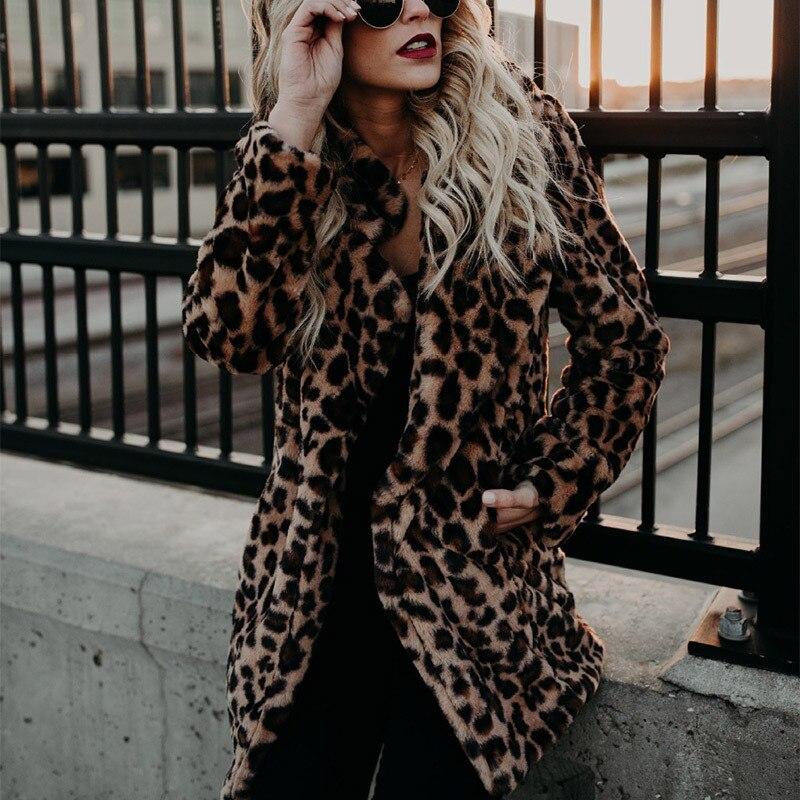 2019 европейский и американский тренд, новый продукт, леопардовое пальто с имитацией меха, пальто, утепленное осеннее и зимнее пальто