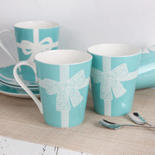 Blue White Lace Bow Mug Ceramic Milk Coffee Cups Adult Drink Cup with Hand Crip Gifts Home Decor Wedding Gitfts NEW 2020 недорого