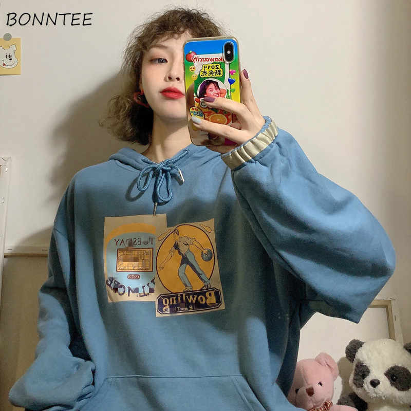 Hoodies Women Printed Korean Style All-match Hooded Thicker Velvet Warm Students Pullover Womens Leisure Loose Hoodie Drawstring