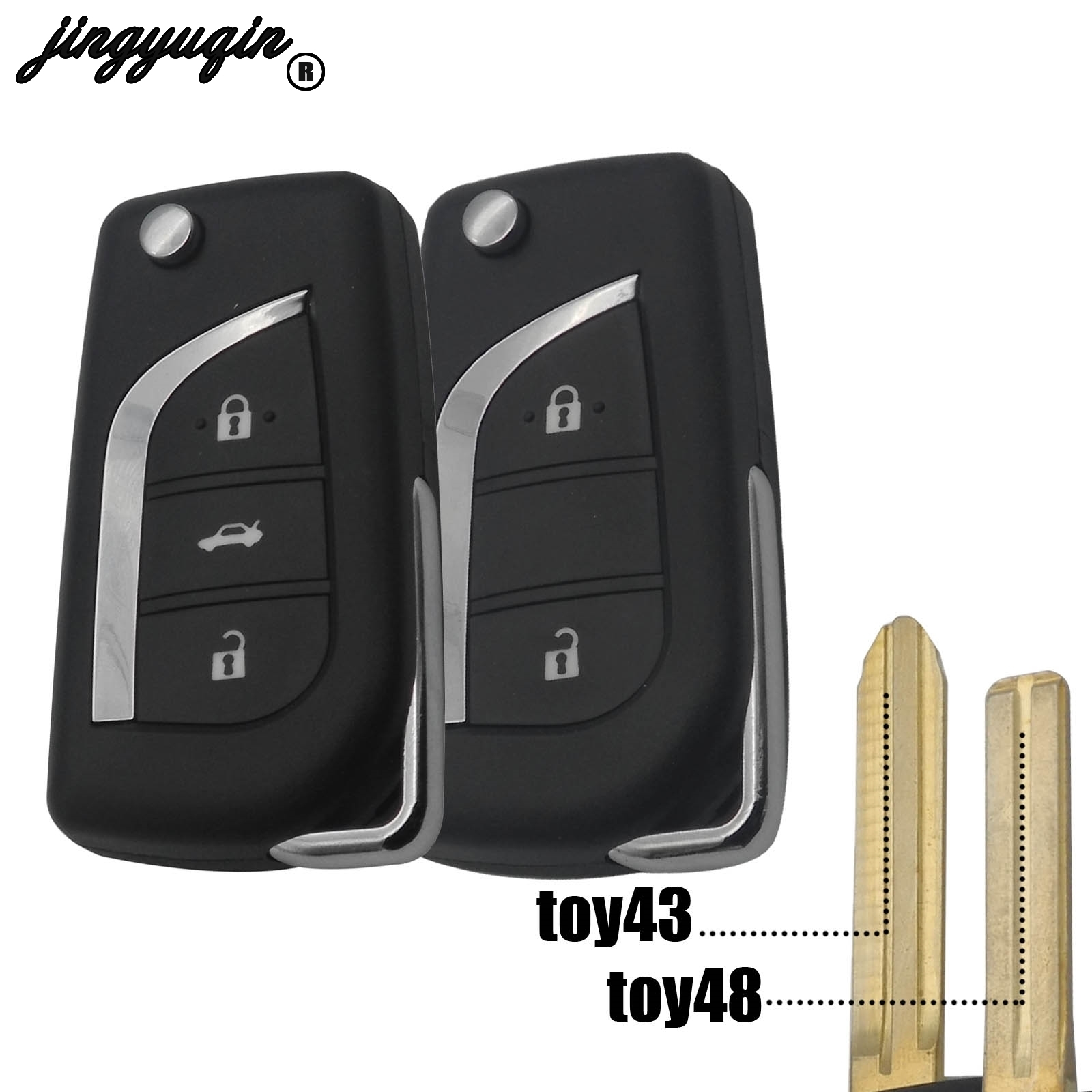 jingyuqin 2/3 Button Remote Flip Folding Car <font><b>Key</b></font> Shell <font><b>Case</b></font> For <font><b>Toyota</b></font> <font><b>2014</b></font> <font><b>RAV4</b></font> Levin Camry Reiz Highlander Corolla Yaris image