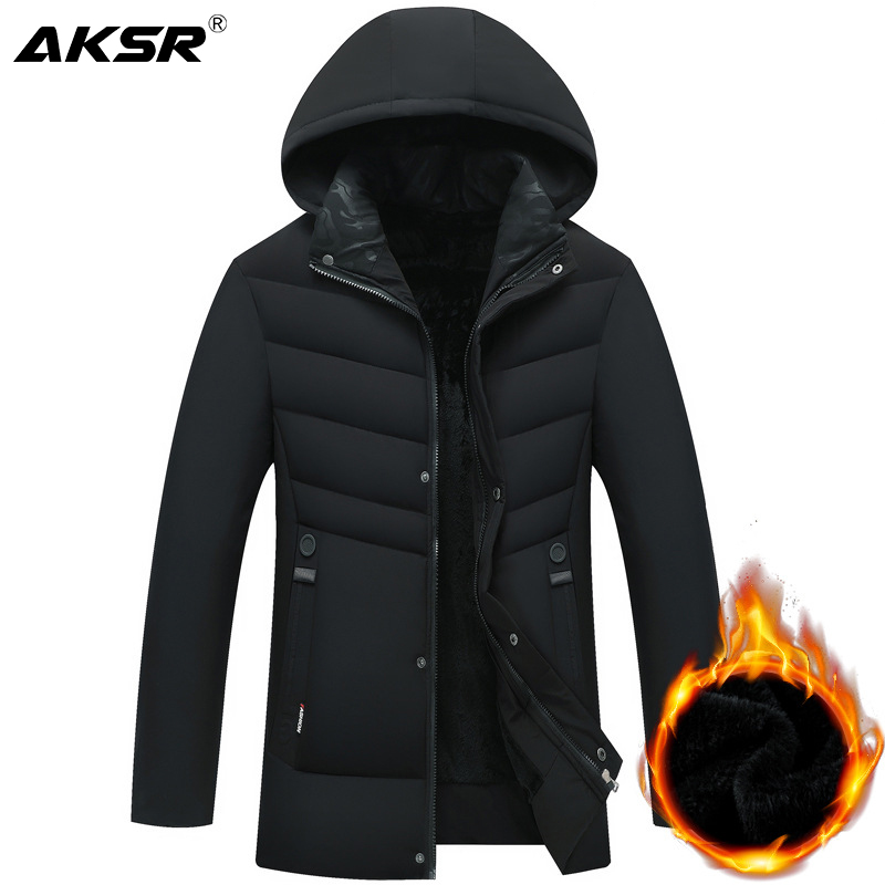 AKSR Men's Long Winter Jacket Coat Large Size Plus Velvet Fleece Thick Warm Winter Jacket For Men Parkas Windbreakers Erkek Mont