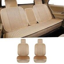 KANGLIDA Auto Sitzkissen Voll Set Hand-woven Eis Seide Vorne Hinten Auto Sitz Abdeckung Universal Auto Sitz CushionGray beige Gold