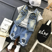 Korean Fashion Children #8217 s Clothing Baby Boys Casual Sets 2020 Spring Summer Kids Boys Denim Vest Coat+striped T Shirt+jeans Suit cheap preax Turn-down Collar Pullover 3Y20030522 COTTON Short REGULAR Fits true to size take your normal size Shorts children s sport suits