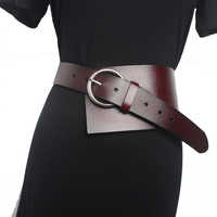 New Brand Vintage Fashion Long Belt Personality Waist Wide Genuine Leather Straps shirt Waistband Belt For Women Accessory