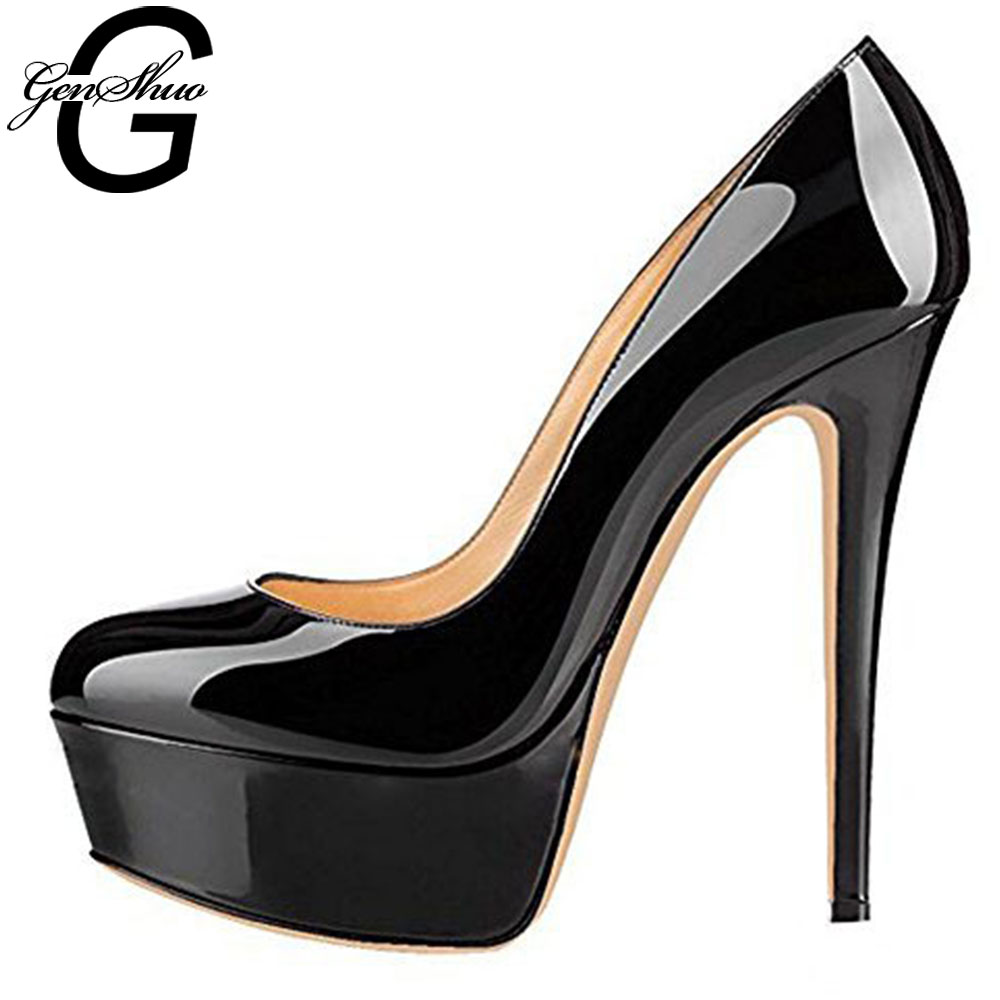 GENSHUO Patent Leather Shoes Stiletto High Heels Women Shoes Wedding Bride Shoes Solid Black Platform Elegant Autumn Pump Sexy