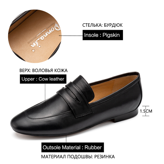 Donna in Genuine Leather Women loafers Autumn Slip on Comfortable Classic Mocassin Casual Flat loafers