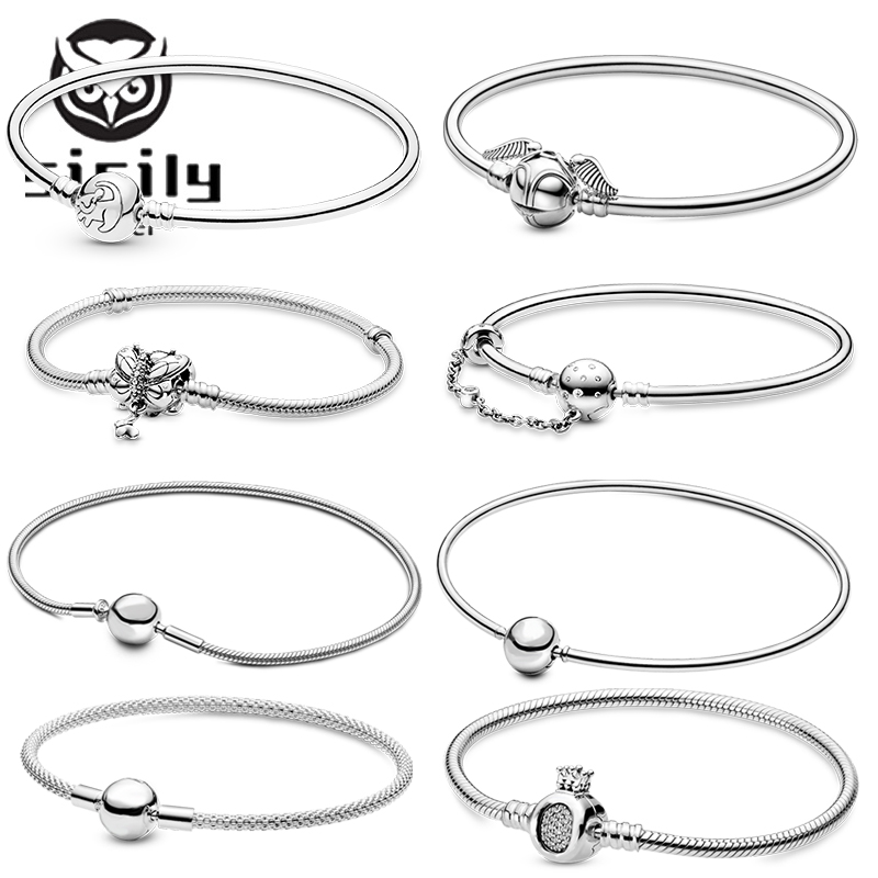 Sicily Authentic original logo 100% 925 sterling silver pan charm chain bracelet for women fashion luxury snake bracelet jewelry