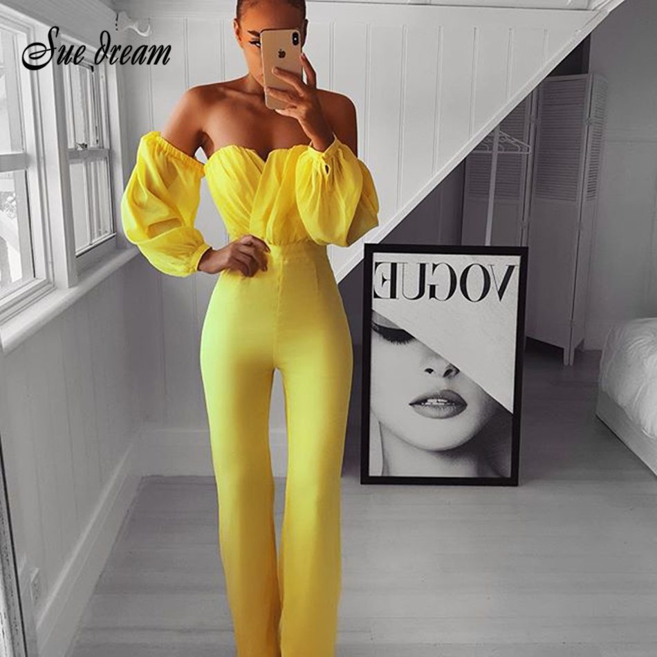 2019 New Autumn Women'S Fashion Sexy Yellow Strapless Long-Sleeved Chiffon Bandage Long Jumpsuit Bodycon Club Party Jumpsuit