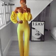 Новинка осени 2020, женский модный сексуальный желтый шифоновый бандажный длинный комбинезон без бретелек с длинными рукавами, Облегающий комбинезон для клуба, для вечеринки, комбинезон