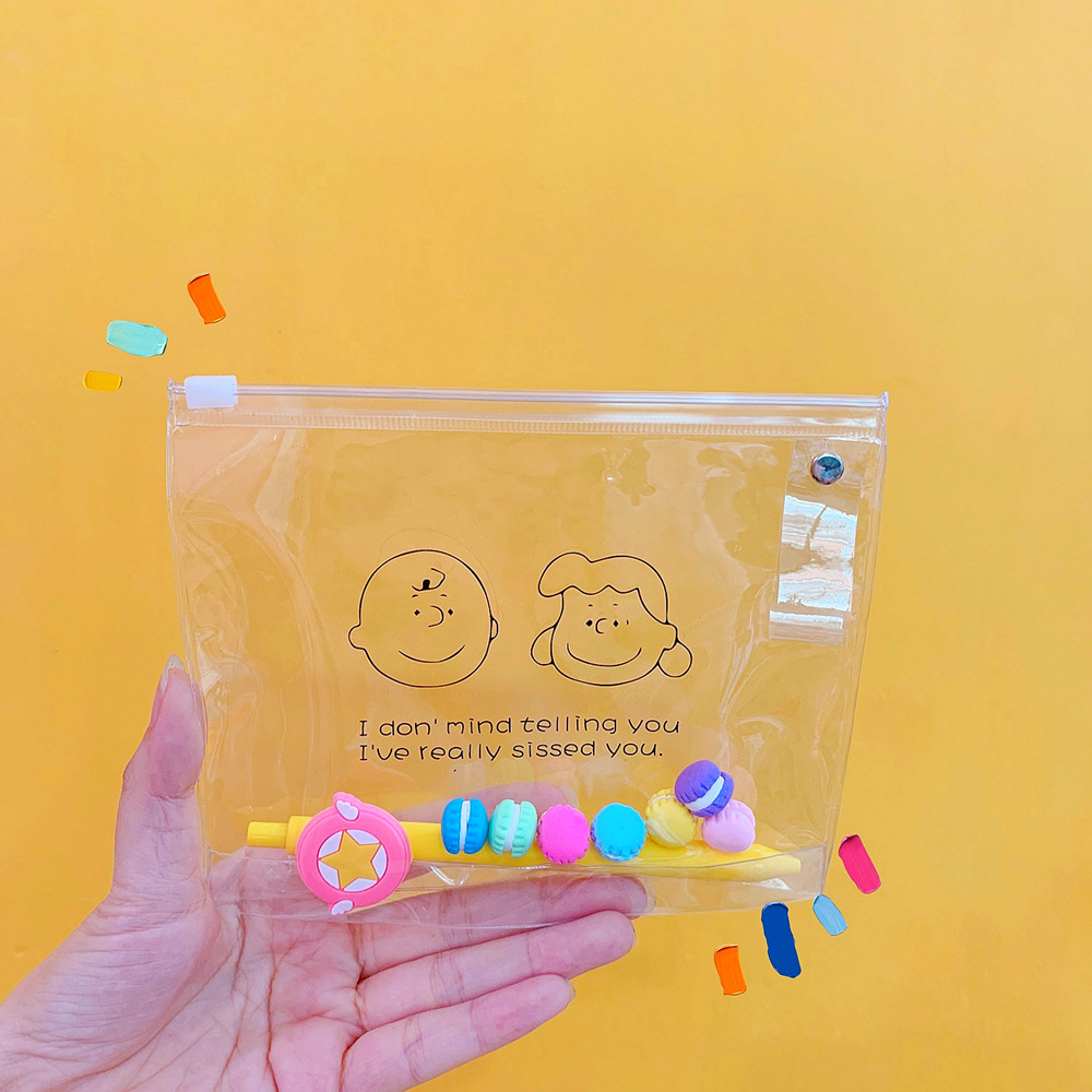 PVC Transparent Cosmetic Bag Seal Coin Pouch Women Children Students Pencil Case Purse For Little Things Waterproof