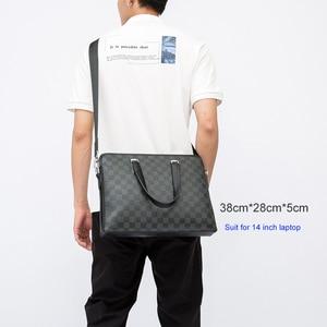 Image 3 - VORMOR 2020 גברים מזדמן תיק תיק עור מפוצל כתף Messenger מחשב נייד תיק Tote תיק שחור/כחול