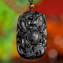 Natural Black Obsidian Beads Necklace Hand-Carved Dragon Jade Pendant Fashion Charm Jewellery Amulet for Man Women Gifts Jewelry(China)