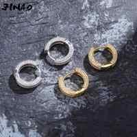 JINAO Gold/Silber Farbe Überzogene Iced Out zweireihig CZ Stein Stud Ohrring Hip Hop Rock Schmuck Ohrringe Für männlich-weibliche Geschenke