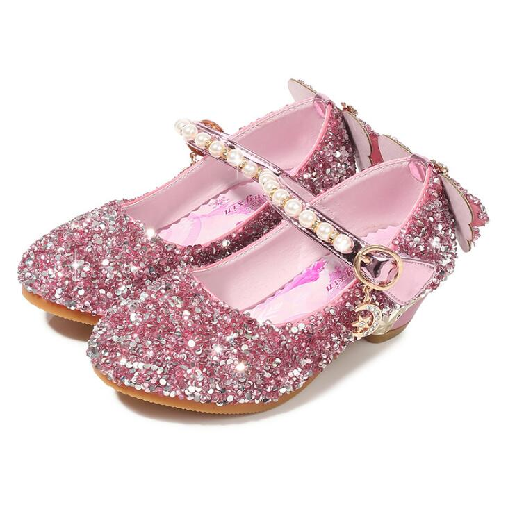 New Summer Sandals For Girls Baby Bow Sandals With High-heeled Toddler Children diamond Single Dress Shoes Pink Silver blue