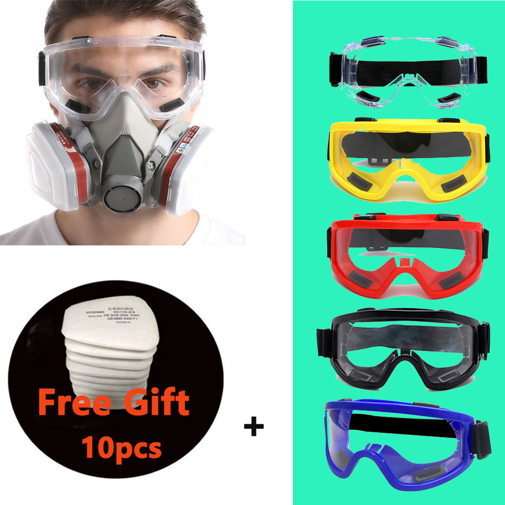 8-In-1 6200 Dust Gas Mask With Safety Goggles Half Face Gas Respirator For Painting Spraying Polishing Work Safety +10 Filters