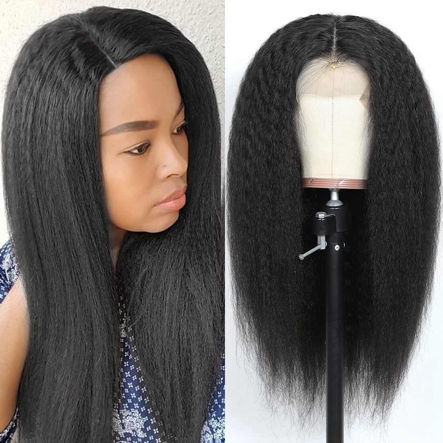 Kinky Straight Wig 13x4 Glueless Lace Front Human Hair Wigs For Black Women Brazilian Lace Front Wigs 250% Density Remy Wig