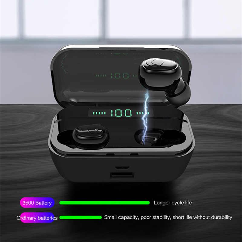 新しい Bluetooth イヤホン 8D ステレオスポーツワイヤレスイヤフォンヘッドセットミニ TWS イヤホン防水ヘッドフォン 3500 mah 電源銀行