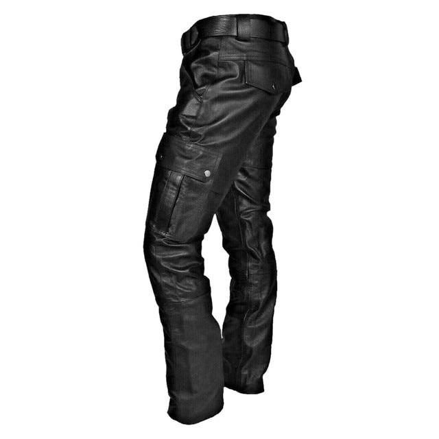 KANCOOLD Faux Leather Pants Punk Retro Pencil Casual men's pants Goth Mid Slim Broadcloth Full Length Pants Trousers D23 3