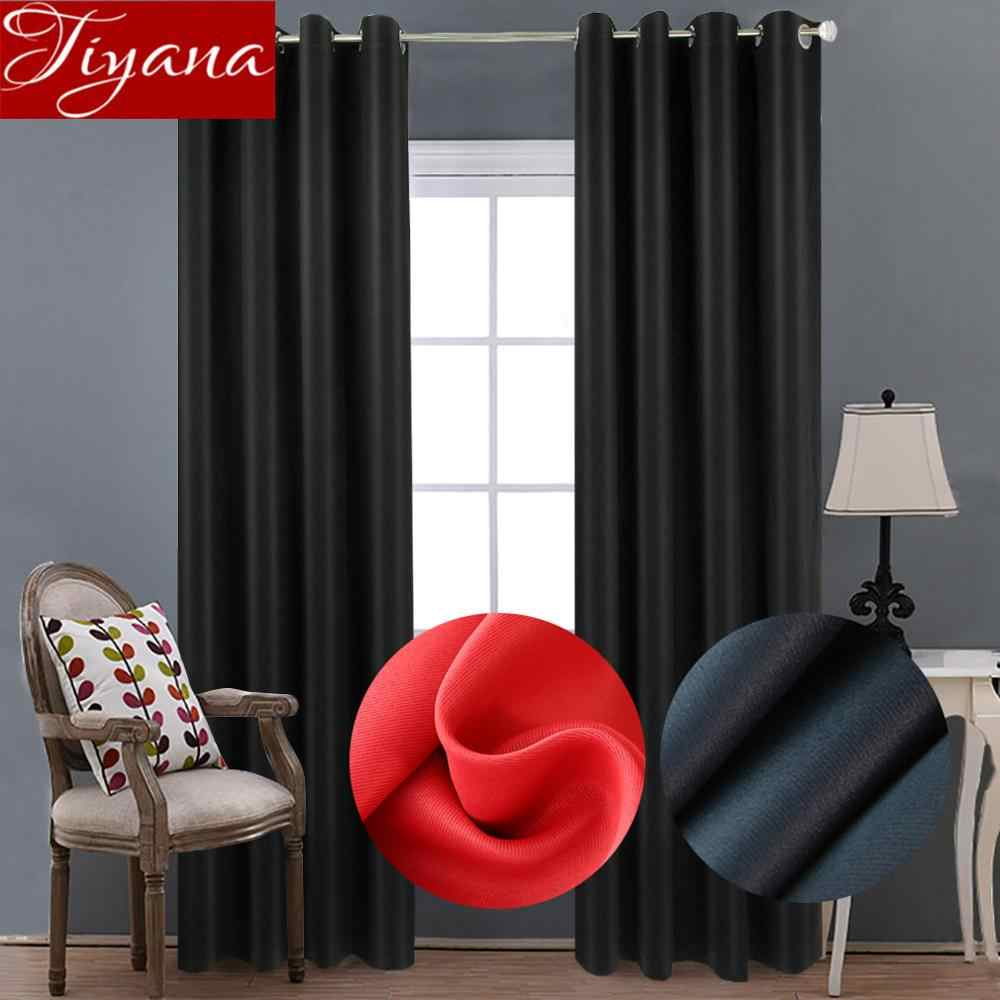 Modern Blackout Curtains for Living Room Red Curtains for Window Bedroom Treatment Solid Drape Black Tulle Sheer Fabric T&092#30