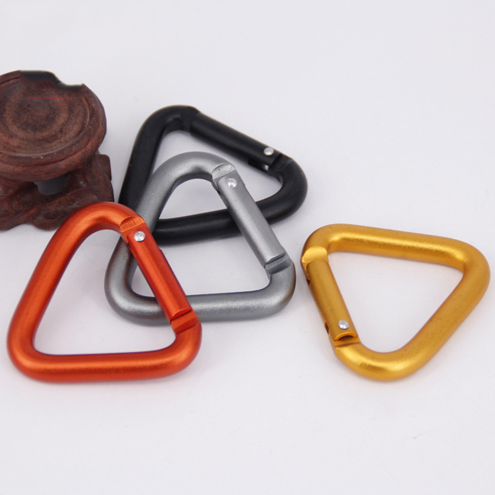 Triangle Carabiner Outdoor Camping Keychain Snap Hiking Clip Hook Kettle Buckle