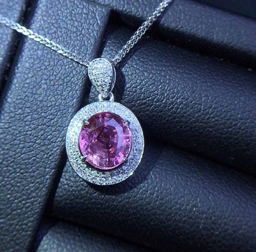 Bijoux fins or blanc pur 18K saphir rose naturel pierres précieuses 1.64ct diamants femmes pendentifs fins colliers pour femmes bijou - 6