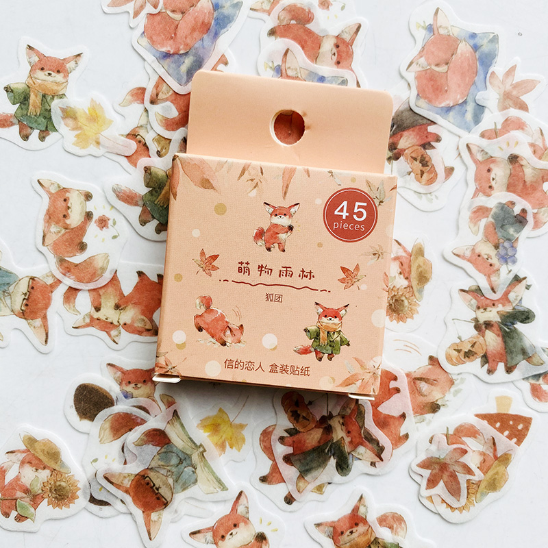 45PCS/Pack Cute Fox And Maple Leaves Paper Sticker Adhesive Craft Stick Label Notebook Computer DIY Decor Kids Gift Stationery