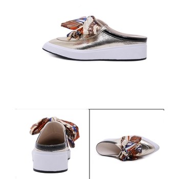 Spring Autumn Loafers Slippers Women Flats Shoes Thick Bottom Slides Ladies Pointed-Toe Riband Platform Flats Shoe Half Slippers 5